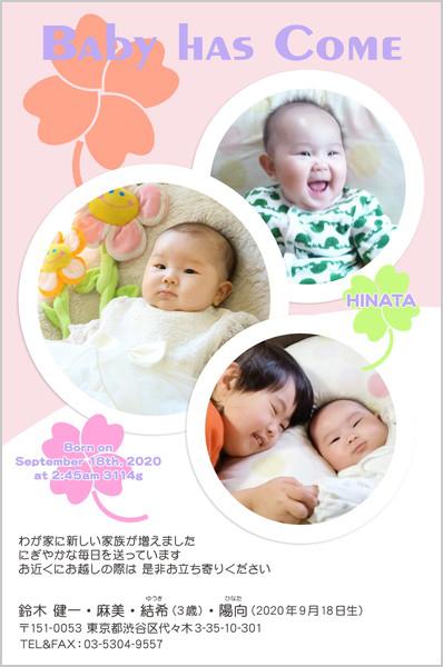 出産・ファミリーはがき No.202 ピンク