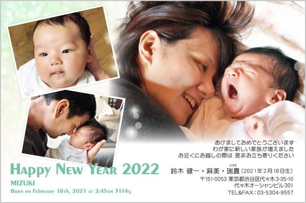 出産・ファミリーはがき No.208 グリーン×ホワイト
