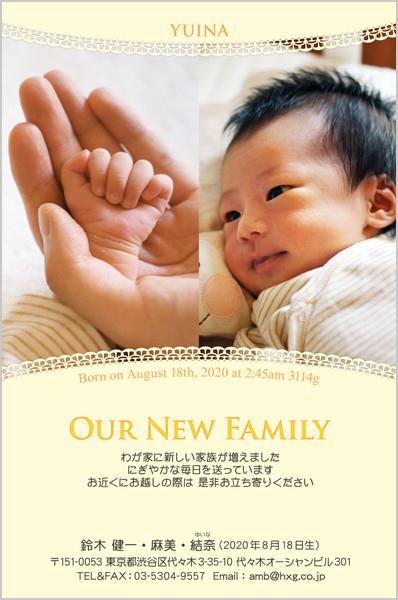 出産・ファミリーはがき No.224 イエロー