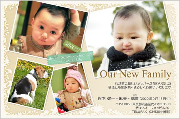 出産・ファミリーはがき No.227 ベージュ