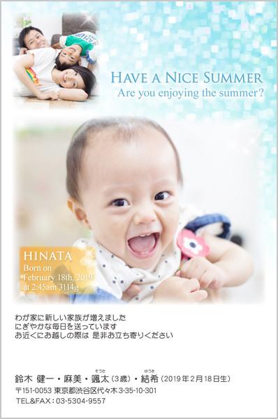 出産報告はがき 暑中見舞いにおすすめ No. 283