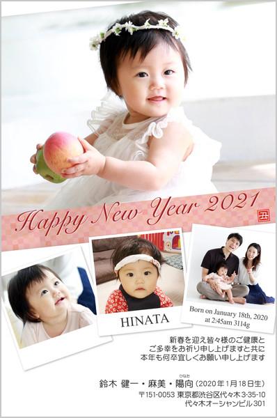 出産報告はがき 写真年賀状2019限定カラー No. 254
