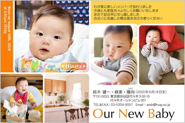 出産・ファミリーはがき No.267 オレンジ