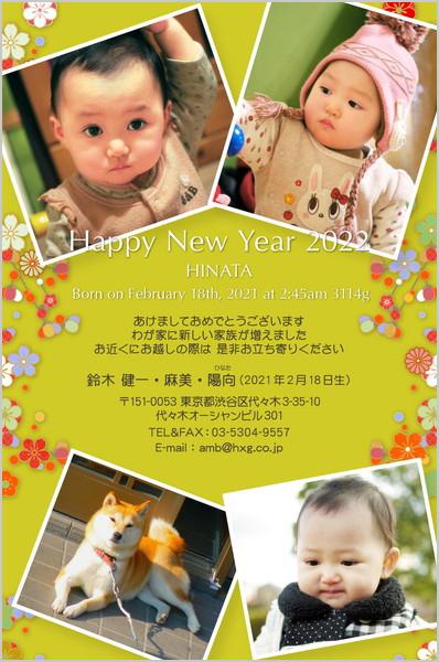 出産・ファミリーはがき No.291 黄緑