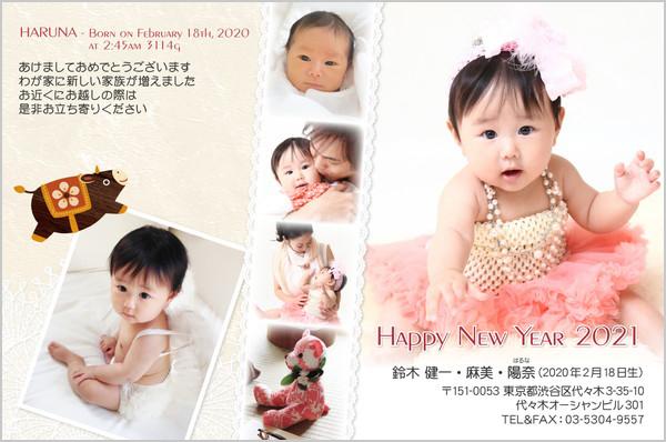 出産報告はがき 写真年賀状2019干支入り No. 298