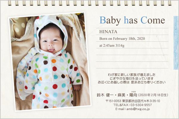 出産・ファミリーはがき No.415 オフホワイト×ライトブルー