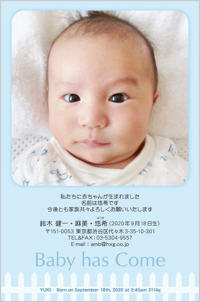 出産・ファミリーはがき No.418 ブルー