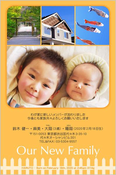 出産・ファミリーはがき No.418 オレンジ