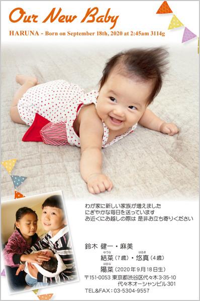出産・ファミリーはがき No.419 ホワイト×タイトル色レッド