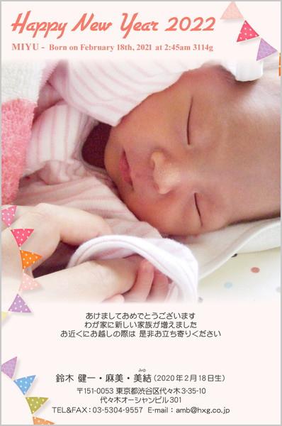 出産・ファミリーはがき No.419 ピンク