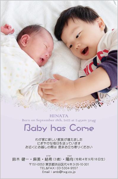 出産・ファミリーはがき No.426 パープル