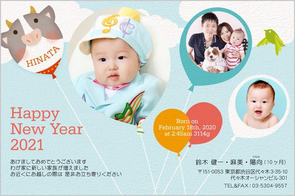 出産報告はがき 写真年賀状2019干支入り No. 441