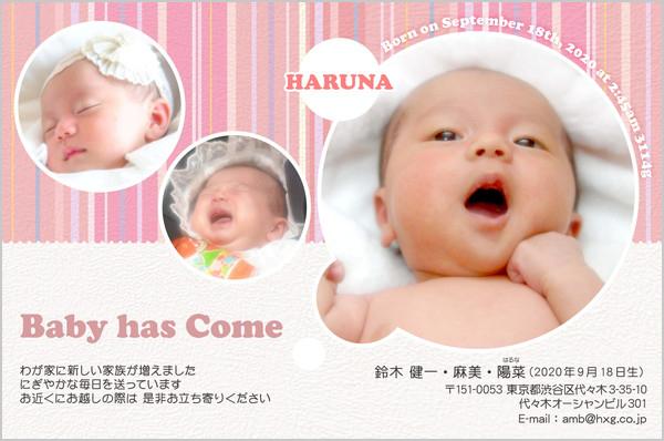 出産・ファミリーはがき No.455 ピンク