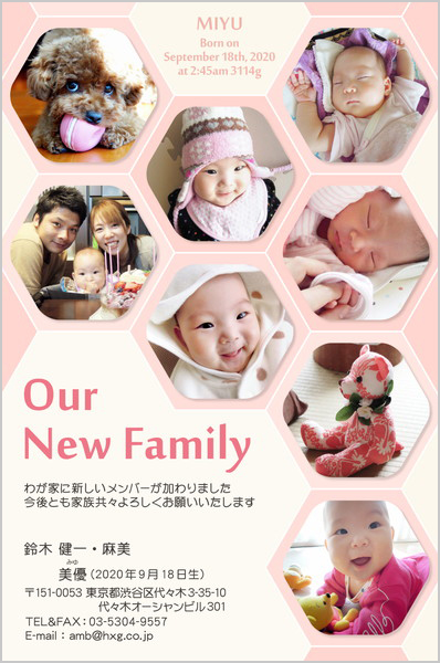 出産・ファミリーはがき No.457 ピンク