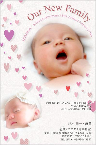 出産報告はがき キュートなデザイン No. 489