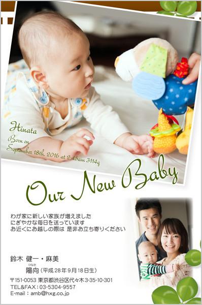 出産報告はがき 秋におすすめ No. 414