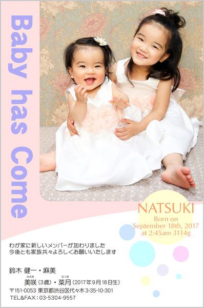 出産報告はがき キュートなデザイン No. 237