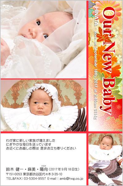 出産報告はがき 和風デザイン No. 251