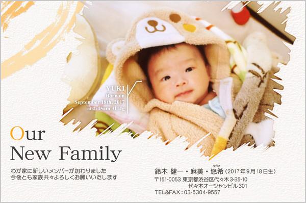 出産報告はがき とっておきの1枚デザイン No. 435