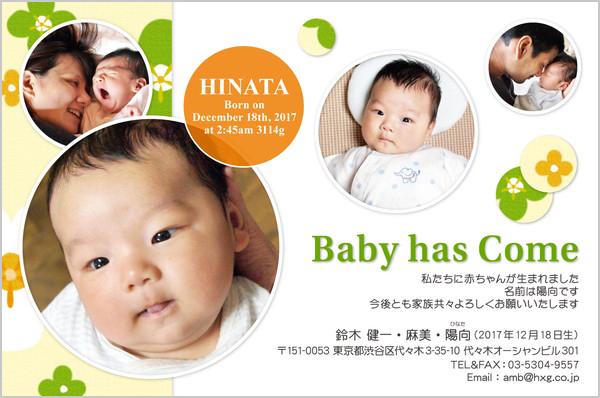 出産報告はがき ポップなデザイン No. 248
