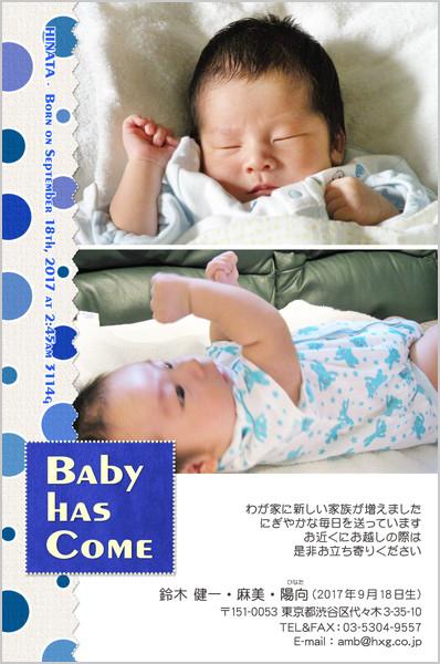 出産報告はがき ポップなデザイン No. 256