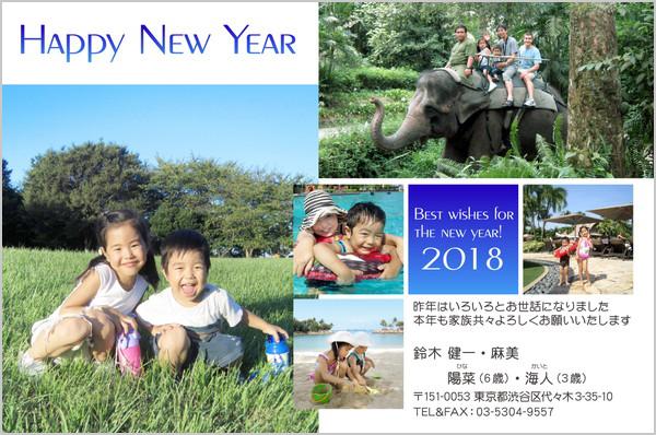 出産報告はがき 家族旅行写真にぴったり No. 253
