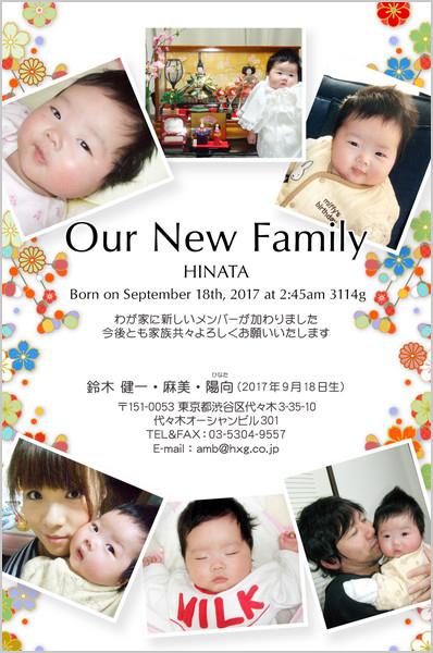 出産報告はがき 写真小さめデザイン No. 291