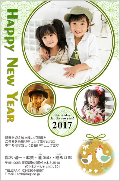 出産報告はがき 写真年賀状2017干支入り No. 250