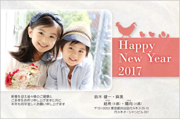 出産報告はがき 写真年賀状2017干支入り No. 421