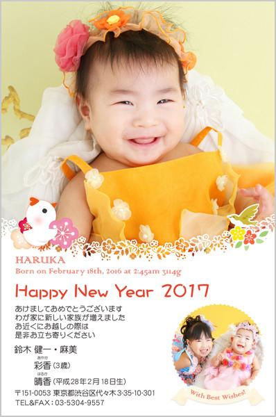出産報告はがき 写真年賀状2017干支入り No. 426