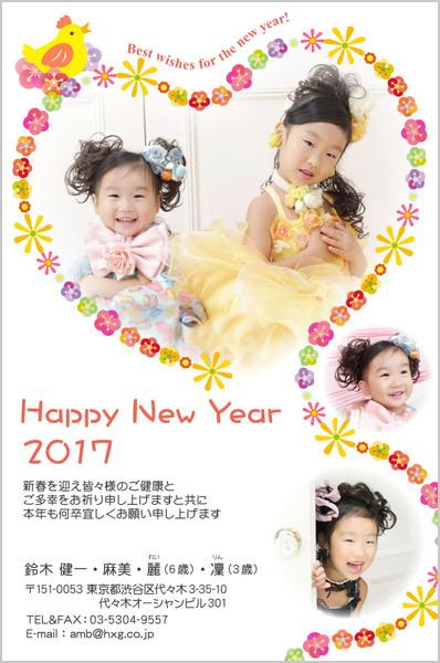出産報告はがき 写真年賀状2017干支入り No. 428