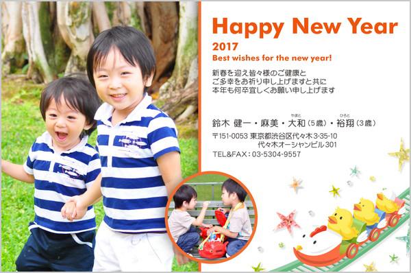 出産報告はがき 写真年賀状2017干支入り No. 438