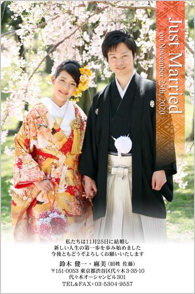 結婚報告はがき No.362 白×赤帯